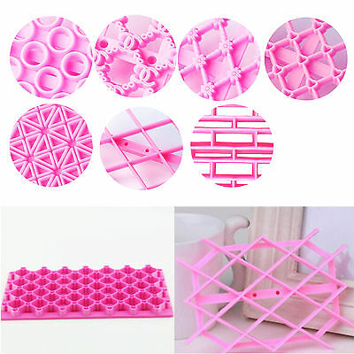 7 Styles Quilted Design Cake Equipment Embosser,Cutter,Mould For Icing Cupcake