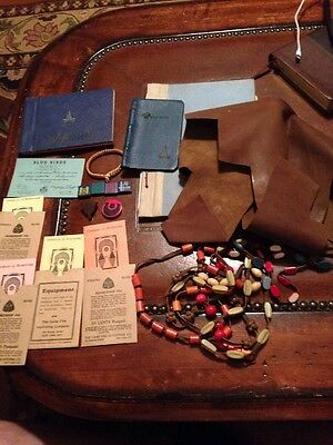 Lot of Vintage Camp Fire Girls Honor Beads Campfire Girl Wooden Wood Awards Etc.
