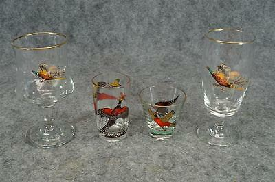 4 Assorted Pheasant Glasses With Gold Trim Circa 1950's