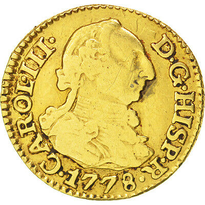 [#46589] Spain, 1/2 Escudo, 1778, Seville, Gold, KM:415.2