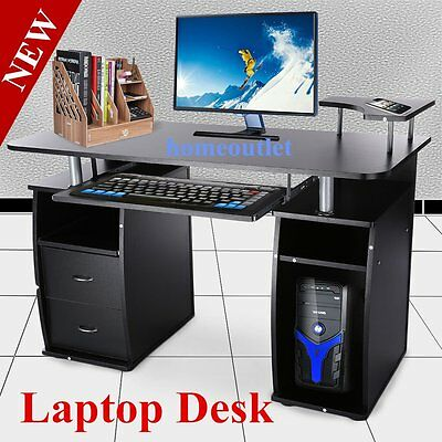 Computer Desk with Shelves Cupboard & Drawers for Home Office PC Table