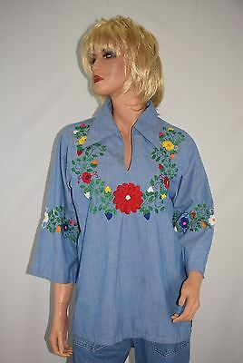Vintage 70's Ricardo's Acapulco Ethnic Blue Embroidered Hippie Shirt Top Size L