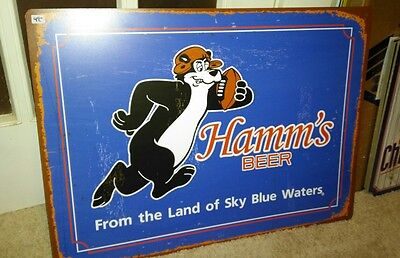 L@@k Hamms Beer Bear Football Player Tin Sign Land Of Sky Blue Waters Game Room
