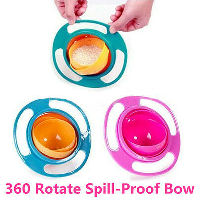 Novelty Healthy Baby Kids Non Spill Feeding Toddler 360 Rotating Bowl Dishes