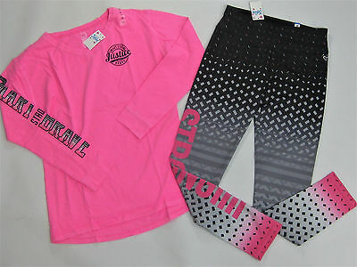 NWT Justice Kids Girls Size 14 Pink Vintage Fade Strong Shirt Active Leggings