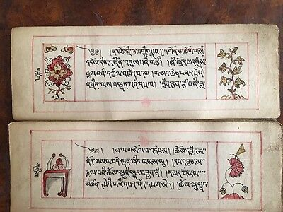 Antique Tibetan Buddhist Handwritten Complete Manuscript With Pictures