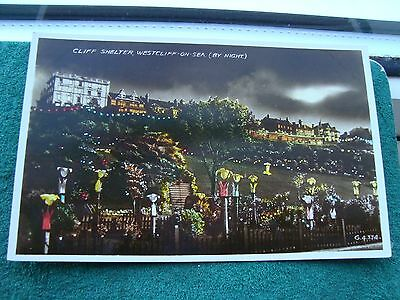Westcliff on sea Shelter and Cliff Gardens. Illuminated. Real Photograph