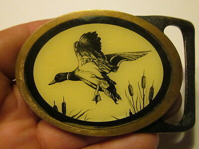 VINTAGE 1970s TECH-ETHER GUILD **DUCK** SOLID BRASS BELT BUCKLE