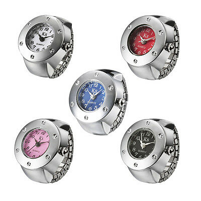 Colorful Girl Ladies Quartz Inlaid Rhinestone Circular Dial Pattern Ring Watch