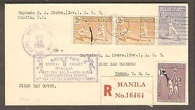Philippines 14 April 1934 Registered FDC Cachet Cover to Fort Sam Houston, Texas