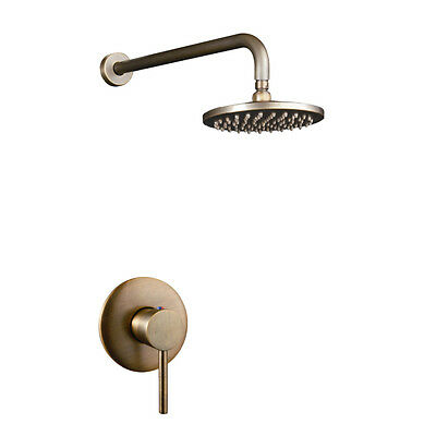 Retro Antique Brass 8 Inch Rainfall Round Shower Head Single Handle Wall Mounted