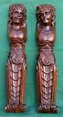 """Antique Pair of Carved Maiden Caryatids 24.5""""- Architectural-Project"""