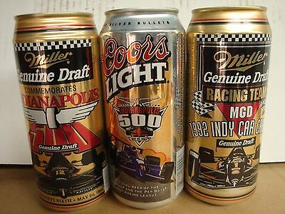 Miller & Coors. Indianapolis 500. Beer cans. x3
