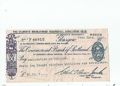 Commercial  Bank  Of  Scotland  Cheque  1945