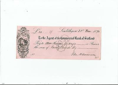 Commercial  Bank  Of  Scotland  Cheque  1872