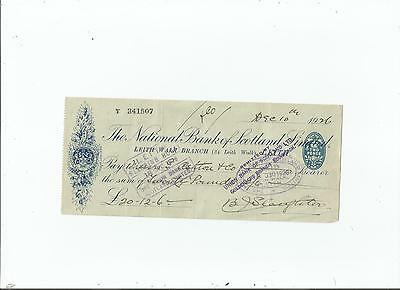 National  Bank  Of  Scotland  Cheque  1926