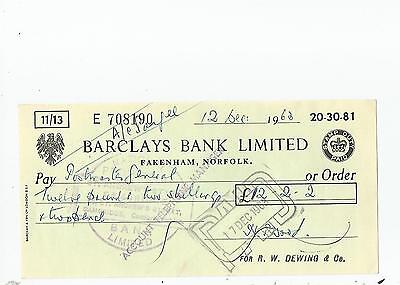Barclays  Bank  Cheque  1963