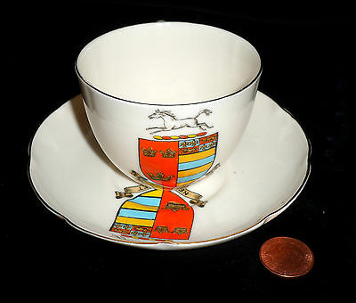 Goss Crested China Matching Cup And Saucer Newmarket Crest Vgc!