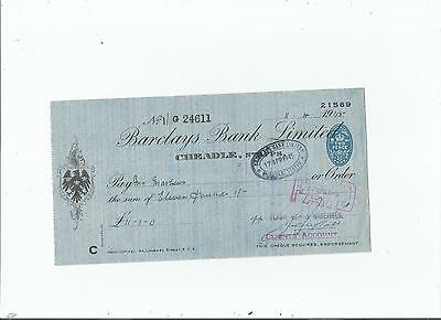 Barclays  Bank  Cheque  1945