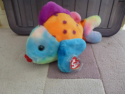 "TY Beanie Buddy/Baby ""Lips the Fish "" Made in China, P.E Pellets."