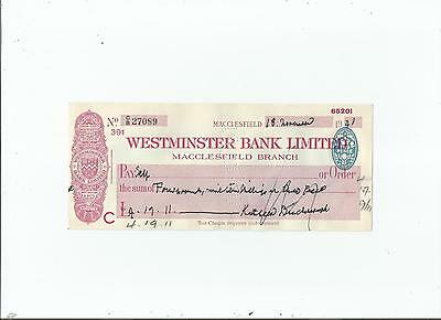 Westminster  Bank  Cheque  1941