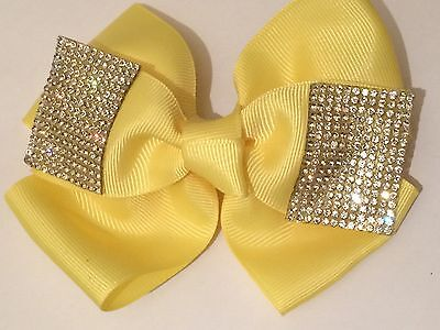 5inch Girls Yellow Hair Bow Covered in Clear Rhinestones (like jo jo bows) Clip