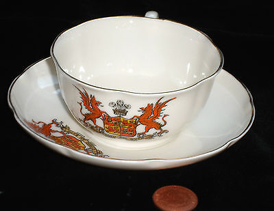 Goss Crested China Matching Cup And Saucer Wales Crest Vgc!