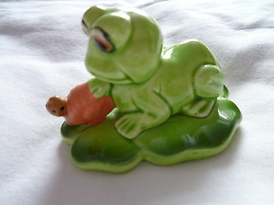 'frog And Snail On A Lily Pad' Ceramic Figure