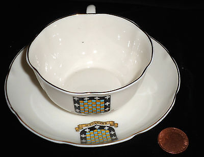 Goss Crested China Matching Cup And Saucer Grantham Lincolnshire Crest Vgc!