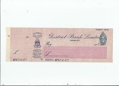 District  Bank  Unused  Cheque  19--