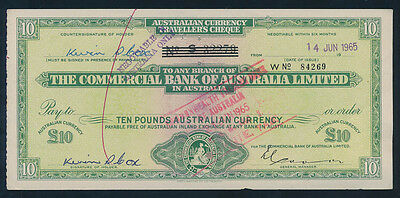 Australia: NZ Commercial Bank of Aust 1965 £10 TRAVELLER'S CHEQUE + Duty Stamp