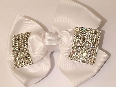 5inch Girls White Hair Bow Covered in Clear Rhinestones (like jo jo bows) Clip
