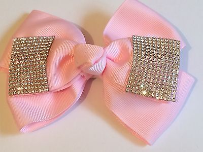 5inch Girls PINK  Hair Bow Covered in Clear Rhinestones (like jo jo bows) Clip