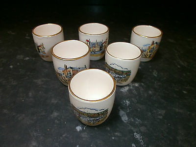 6 Vintage Dartmouth Pottery Egg Cups, Britannia Designs, St Ives