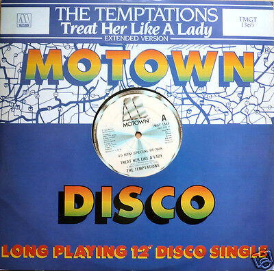 "TEMPTATIONS Treat Her Like Lady UK 1984 12"" MAXI VINYL MOTOWN TMGT1365 FREE S&H"