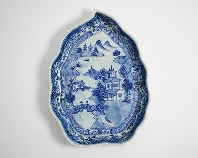 Antique Chinese blue and white porcelain leaf shaped dish
