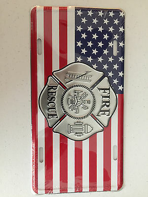 American Flag Fire Rescue Front License Plate