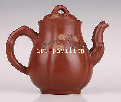 Large Master Yixing Purple Sand Works Plum Blossom Dotted Teapot Kettle Vintage