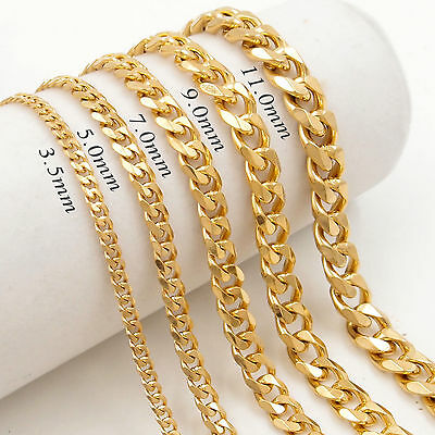 3.5/5/7/9/11mm MENS Chain Boy Stainless Steel Gold Curb Cuban Necklace 18-30''