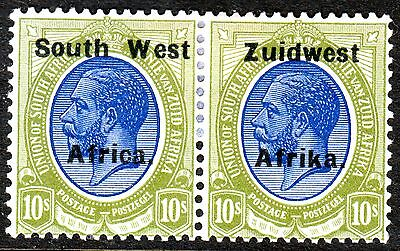 SOUTH WEST AFRICA, 10s BLUE & GREEN, PAIR, SG39, MOUNTED MINT, 1924