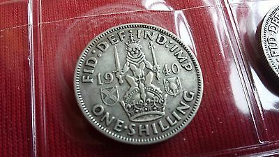 1940 George VI Silver One Shilling UK coin 1/-