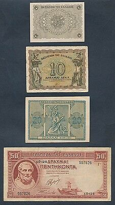 Greece: 1939-1945 COLLECTION of 6 different WWII Era notes. Nice starter lot