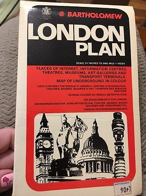 1972 Bartholomew London Plan Index to Streets & Places Map Underground Color