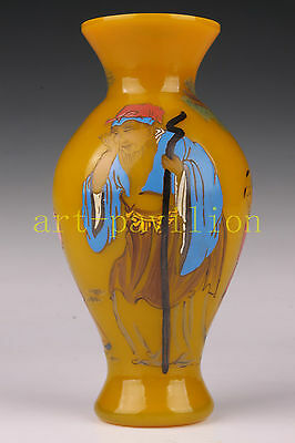 Vintage Yellow Colored Glaze Hand-Painted Zhang Guolao Vase Statue Jar Art Colle