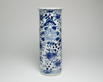 Antique Chinese porcelain blue and white cylindrical vase