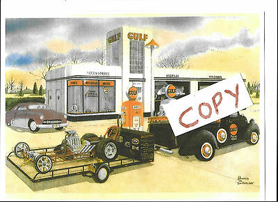 Gulf Oil Station,Truck,Motor Cycle Poster