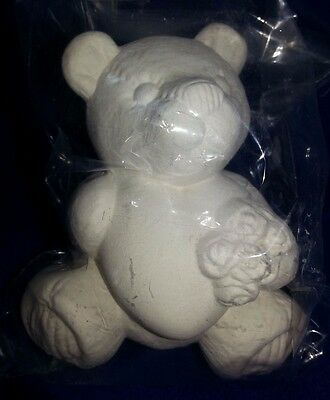 Ceramic bisque Valentines Ted, Heart & Roses appx.90mm. Ready to paint or Glaze.