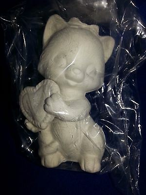Ceramic bisque Valentines Kitten with Heart  appx.80mm. Ready to paint or Glaze.