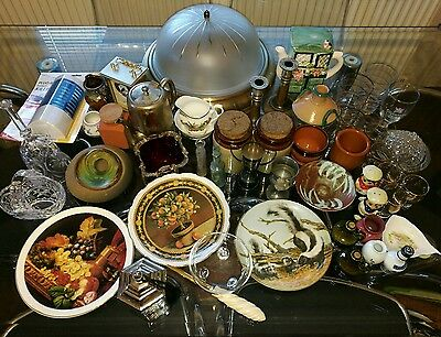 Job Lot Car Boot sale mantle clock plates teapot Crystal Glass from Wakefield