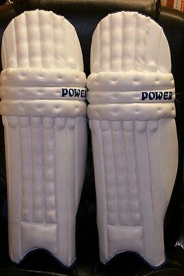 """New Cricket """"Power"""" batting pads. White with blue trim."""